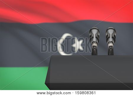Pulpit And Two Microphones With A National Flag On Background - Libya