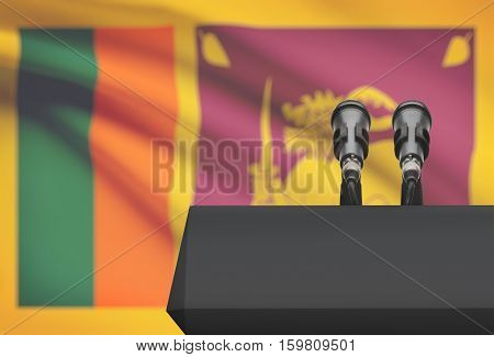 Pulpit And Two Microphones With A National Flag On Background - Sri Lanka