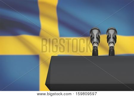 Pulpit And Two Microphones With A National Flag On Background - Sweden