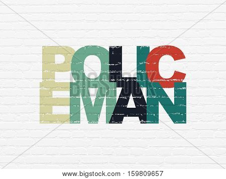 Law concept: Painted multicolor text Policeman on White Brick wall background