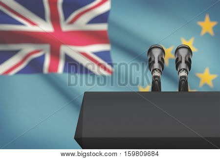 Pulpit And Two Microphones With A National Flag On Background - Tuvalu