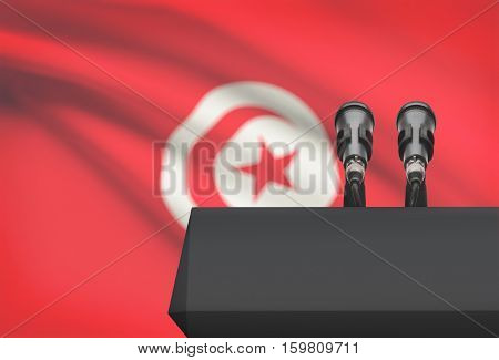 Pulpit And Two Microphones With A National Flag On Background - Tunisia