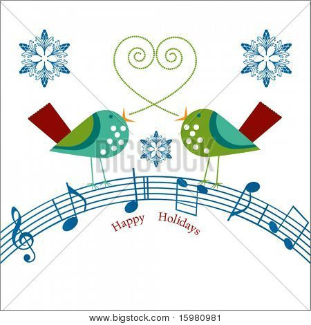 whimsical  birds with musical notes  Happy Holidays message
