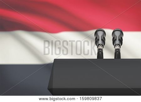 Pulpit And Two Microphones With A National Flag On Background - Yemen