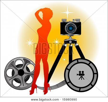 Sexy pinup silhouette  with camera and film reel - retro