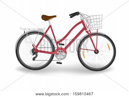 isolated red women's bicycle with basket, vector