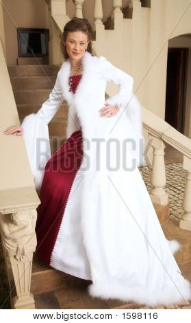 Beautiful Smiling Bride On Stairs