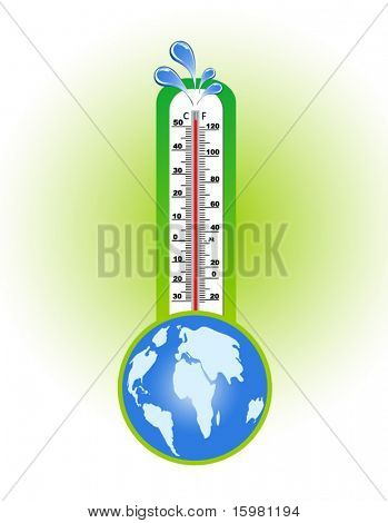 Thermometer with water splashes at the top and globe below - global warming concept