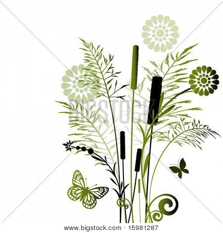 Summer grasses in green - flowers and butterflies