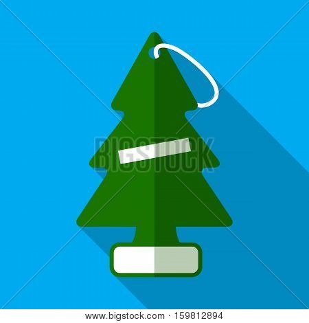Pine tree car air freshener flat icon with long shadow