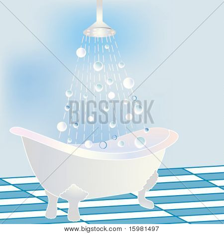 Stylized Bathtub with rain showerhead,  falling water and bubbles