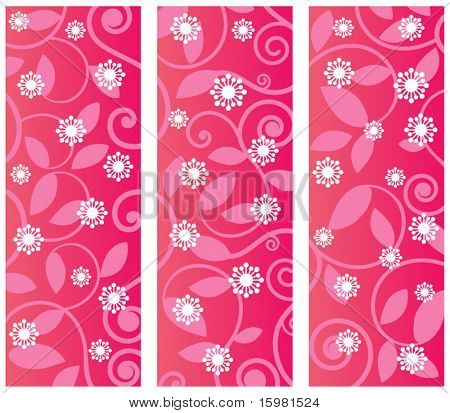 Floral flourish - Three panels with pattern Funky flower overlay