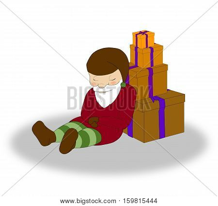 illustration of Christmas sleeping elf with a lot of orange gift boxes