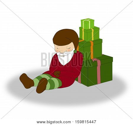 illustration of Christmas sleeping elf with a lot of green gift boxes