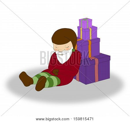 illustration of Christmas sleeping elf with a lot of purple gift boxes
