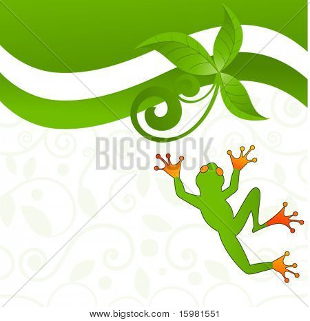 fun jumping frog - decorative pattern behind