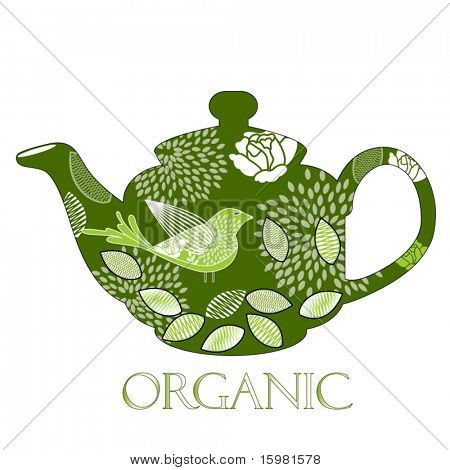 organic teapot - remove clipping mask to reveal elements for other uses