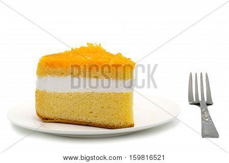 Chiffon cake garnished with foi thong on white background