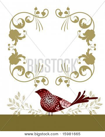 Decorative bird and frame (remove clip mask on birds for full flowers)