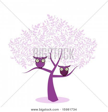 Whimsical owls in tree - flowers for eyes