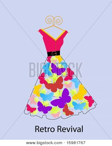 retro revival butterfly dress on hanger