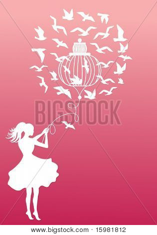 Girl with cage and birds (separate elements)