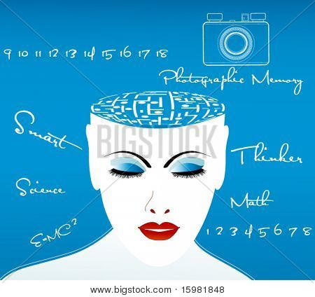 "female thinker with puzzle for brain - camera for ""Photographic Memory""  (Einstein's Equation - E= MC squared)"