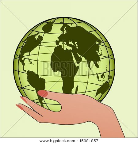 Hand with globe