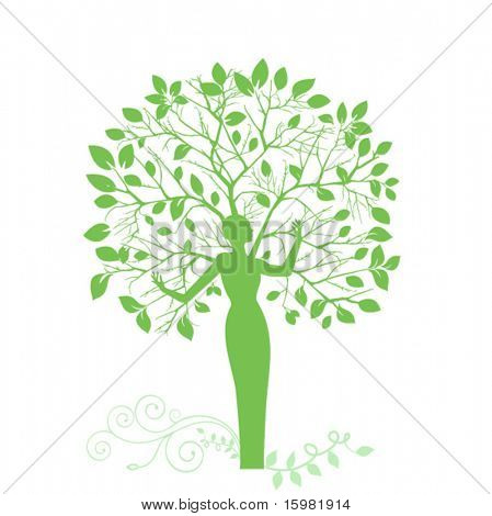 "Tree with woman as trunk ""mother earth"" concept (leaves and roots separate)"