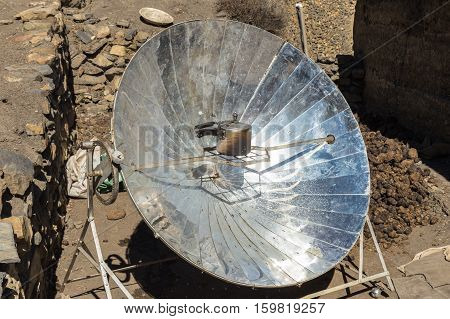 Eco-friendly solar heater for boiling water in the himalayan mountains in Nepal.