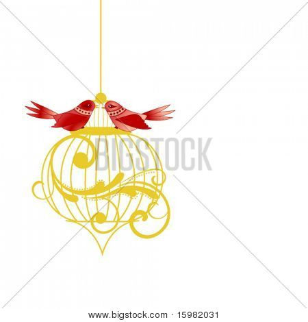 Whimsical birds on a cage (coil separate elements)