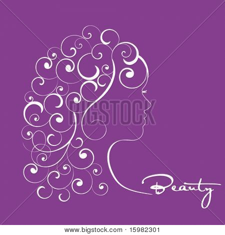 Stylized profile of woman with curly hair (individual pieces)