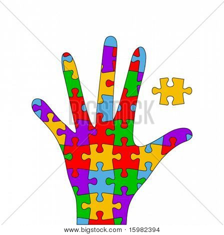 colorful puzzle hand