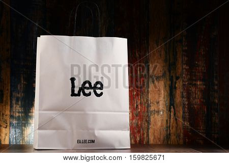 POZNAN POLAND - NOV 25 2016: Lee is a brand of denim jeans founded in Salina Kansas now owned by VF Corporation and headquartered in Merriam Kansas USA