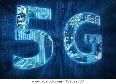 5G on digital background high quality and high resolution computer graph