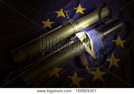 EU and Ukraine Flag with Soviet rocket-propelled grenade launcher