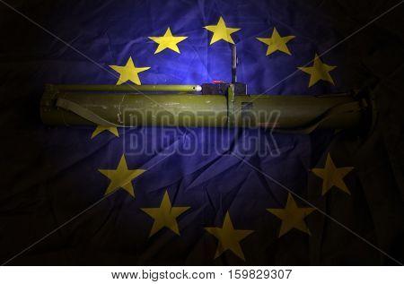 EU Flag with Soviet rocket-propelled grenade launcher