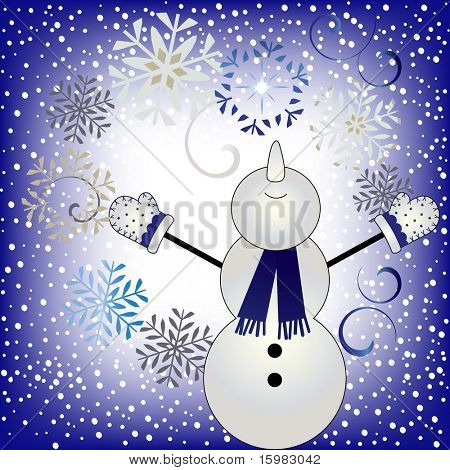 winter bliss - snowman looking to sky with falling snow