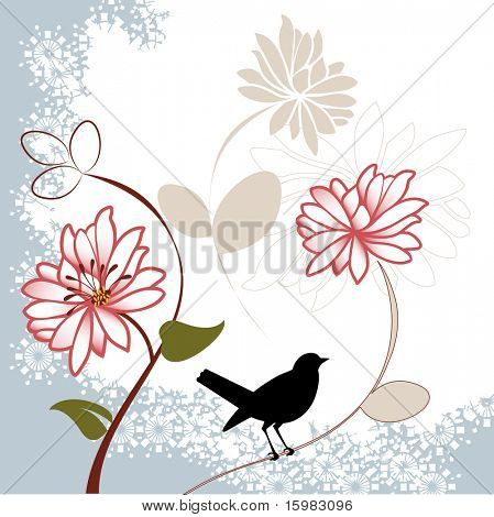 pretty flowers with bird blue