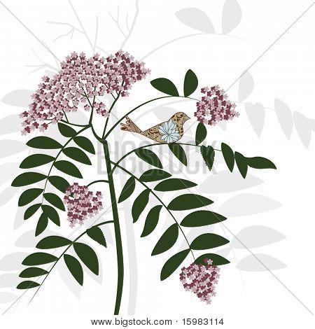 pretty flower bush and bird sitting on branch