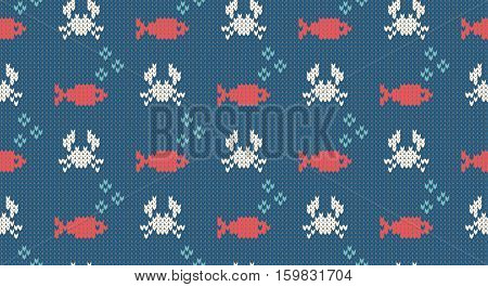Sea and nautical backgrounds in white turquoise red and dark blue colors. Sea theme. Seamless patterns. Woolen knitted texture. Vector Illustration