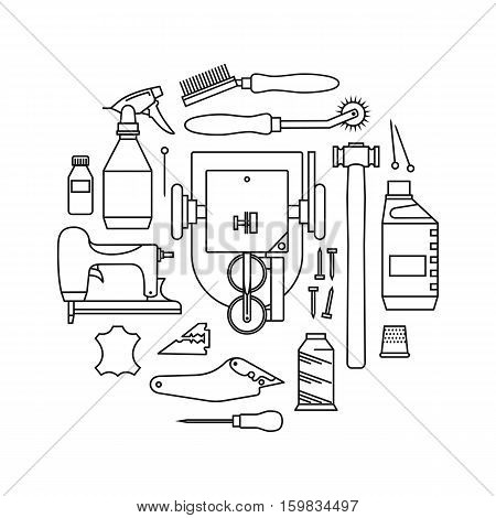 Vector icons set of furrier's tools. Print on white background
