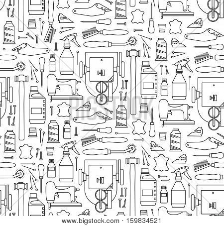Vector seamless pattern of furrier's tools. Print on white background