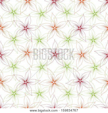 Floral seamless pattern isolated on white background. Vector illustration