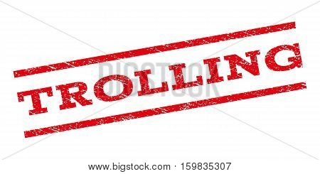 Trolling watermark stamp. Text tag between parallel lines with grunge design style. Rubber seal stamp with unclean texture. Vector red color ink imprint on a white background.