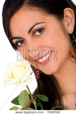 Beautiful Bride With White Rose