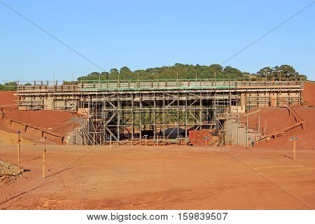 New road bridge under construction with scaffolding