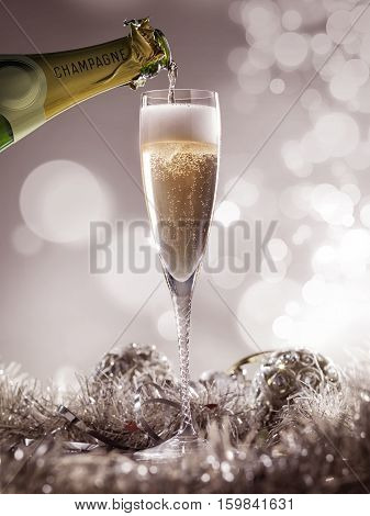 Crystal luxury champagne glass with champagne bottle and decoration