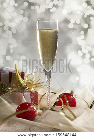 Luxury champagne glass gift and decoration on an abstract grey background