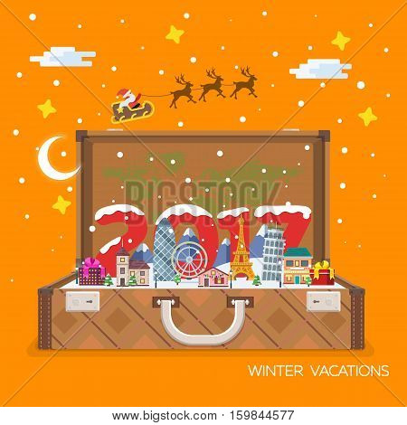 Merry Christmas and Happy New Year 2017 travel. Open suitcase with landmarks. Vector illustration for the website calendar ads banners. Winter landscape. Santa Claus and plane in the sky.